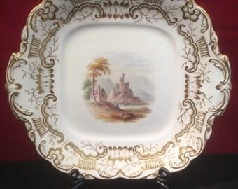 Antique Hand Painted Rockingham Plate c1800