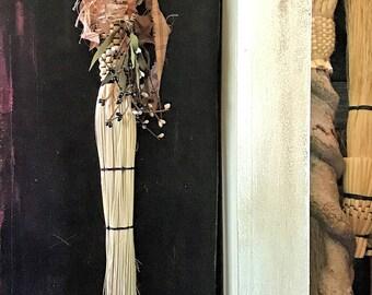 Rustic Wedding Broom,Primitive Witch's Broom Besom,Decorated Broom,Decorated Besom,Ritual Besom,Primitive Moon and Stars Decorative Broom