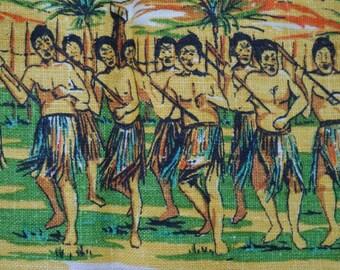 Vintage Teatowel, New Zealand, Maori Haka, War Canoe, Linen Tea Towel, Retro Kitchenalia, Poi Dancer, Hand Printed, New Zealand Prints