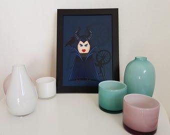 Maleficent, cute print, funny kids art, Angelina, colorful kids room poster,  children room decor, dark blue, Disney villain, Disney lover