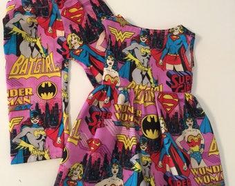 "Super Heroes Bat Girl, Super Girl, Wonder Woman Inspired PJ Bottom or Dress to Fit Like American Girl Doll Clothes Pants, 18"" Dolls, Comics"