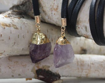 Amethyst Crystal Leather Wrap Necklace