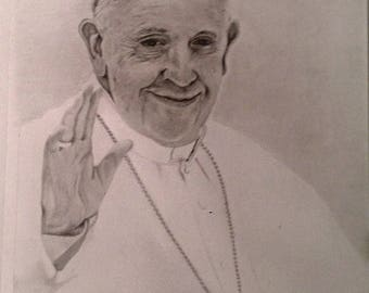 Print of Pope Francis Portrait Drawing