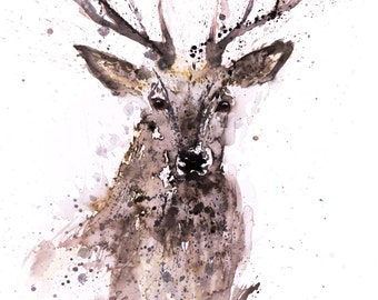 Stag No.1 - Signed Print of my original watercolour painting