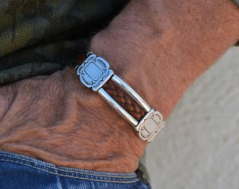 Men leather bracelet, men braided leather bracelet band leather wrap bracelet, silver cuff, viking bracelet, men leather jewelry, genuine