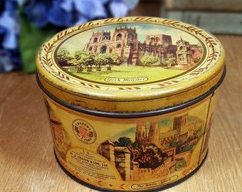 Vintage ENGLISH TIN BOX Decorative Tin Made in York England English Souvenir Tin Collectible Boho Rustic Tin