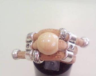 Handmade ring portuguese natural cork,white beige pearl pendant