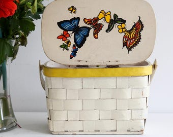 1960's Vintage Butterfly Hand Painted Woven Wood Picnic Basket Purse Caro Nan Papagallo Collectable Sewing Kit Yarn Holder