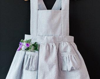 Ayla Toddler Pinafore Dress - Vintage Girls Dress- 2T, 3T, 4T, 5T