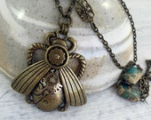 Steampunk Beetle Pendant on Long Chain with semi precious stones