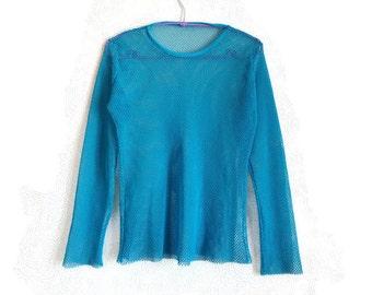 Hot Blue Mesh Top Vintage Fashion 90s Women's Top Long Sleeve Vintage Clothing Mesh Shirt Summer Clothing
