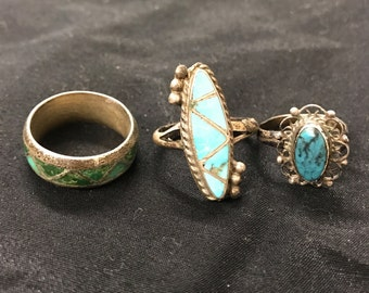 Vintage Silver Tone and Turquoise Rings