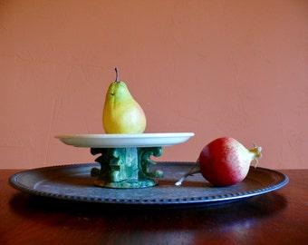 Carved Stone Pedestal Dish, White and Green Stone Pedestal Plate, Marble Plant Stand, Cake Stand, Centerpiece Dish, Asian Boho Decor