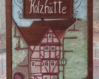 Vintage Hand Carved & Hand Painted Wood Inlay Artwork From Germany/Austria  Wooden Holzhutte House/ Cabin Country Home Decor Wooden Wall Art
