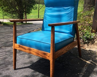Mid Century Modern High Back Lounge Chair by Hill-Rom in Turquoise