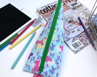 Unicorn stationary case/ pouch/ bag ( Water resistant fabric lining)