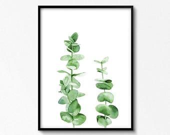Eucalyptus Watercolor. Green Leaves. Plant Art. Eucalyptus Print. Watercolor Painting. Printable Wall Art. Greenery Print. Nature Poster.
