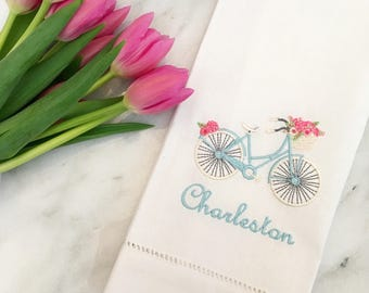 Charleston Bicycle Tea Towel - Bicycle Flower Basket Monogram - Bicycle Embroidery - Hostess Gift - Housewarming Gift - Mother's Day Gift