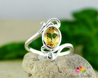 natural citrine ring, gemstone ring, all ring size, gift for her, 925 silver ring, womens ring, engagement ring, friendship ring,ETR1023