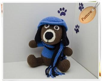 Crochet Dog Pattern, Amigurumi Dog Pattern, Crochet Dog PDF Tutorial, Crochet Dog Toy, Dog Stuffed Animal, Sherlock Pattern, Blue, Brown