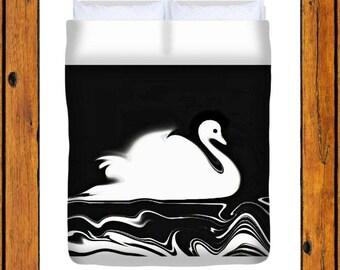 Swan, Duvet Cover, black, white, black and white, bedding, Home Decor