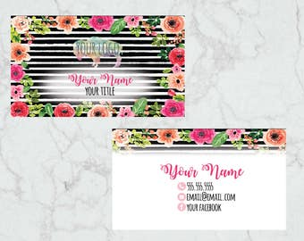 Black White Striped Peony Floral Business Card