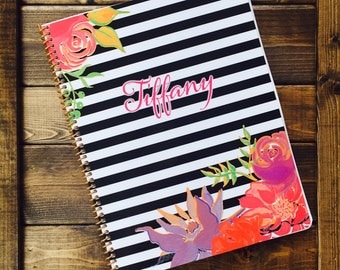 Personalized Kid's Gratitude Journal in Floral Stripes