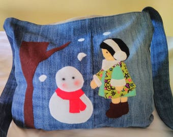 Upcycled Jeans Bag The girl and the snowman