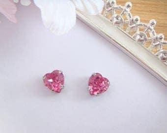 Invisible Clip on earrings or Sterling Silver earrings,Rose pink love heart Swarovski crystal,clip on earrings,Non Pierced,gift for women