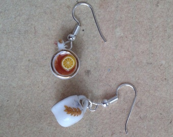 Earrings Cup of Tea with citron