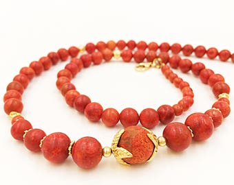 Red Coral Mala, Coral Gold Necklace, Diamond Cut Beads, Gold Filled Mala, Coral Women Jewelry, Natural Red Coral, Red Beads Necklace