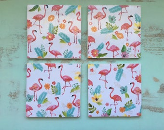 Coasters, Flamingo Coasters, Decorative Coasters, Set of 4 Coasters, Tile Coasters, Drink Coasters, Ceramic Coasters, Tropical Coasters