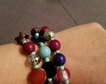 Burgundy and turquoise three and one stretch bracelet