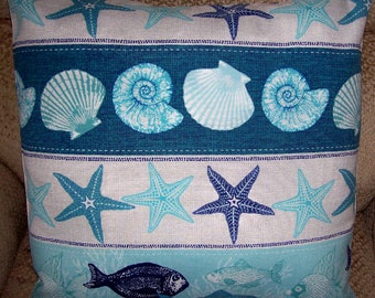 """HANDMADE Pillow Cover Shells Starfish Fish Aqua Blue 18"""" tropical indoor outdoor coastal"""