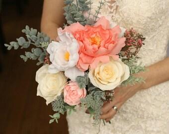 Beautiful Handmade Paper Wedding Bouquet.  Alternative Bridal Bouquet. Paper Wedding Flowers. Custom Bouquet