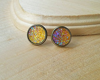 Yellow Druzy Stud Earrings, Druzy Earrings, Druzy Studs, Faux Druzy Earrings, Faux Druzy Studs, Hypoallergenic, Bronze Earrings, Yellow