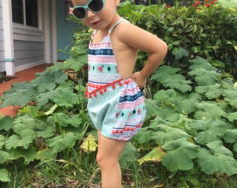 Halter romper/ baby and girls sunsuit/ bubble romper/ fringe romper/ playsuit
