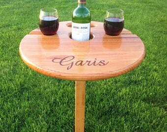 Outdoor Wine Table (folding+portable) Unique gift for wine-lover, wedding gift for the couple, engagement, birthday, camp/beach, anniversary