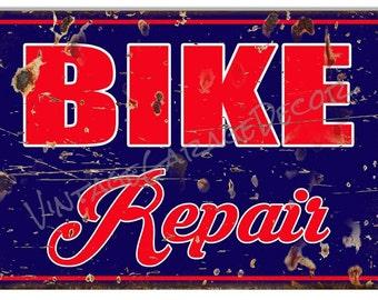 """Vintage Style """" Bike Repair """" Distressed Metal Sign"""