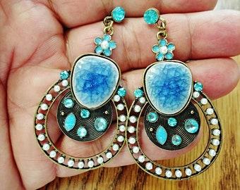 very nice enamel dangle pierced Earrings /gg2