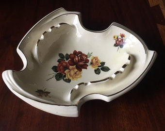 Vintage California Originals Ashtray, Cream with Roses and Gold Trim, Large size Floral Flowers, Pottery Ceramic
