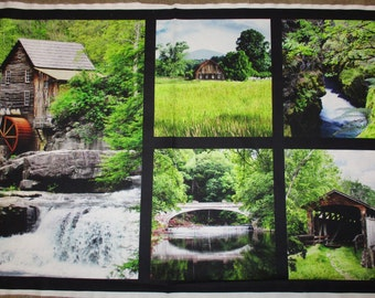 "Country Springtime,covered bridge,Mill, barn, Red Rooster Fabrics 24"" panel"