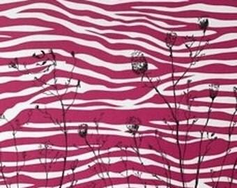 Ink Flowers on Magenta Patterned Paper