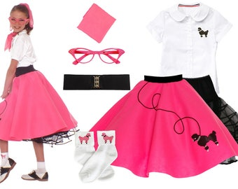 7 Pc MEDIUM Child 9 50s Poodle Skirt OUTFIT