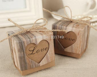 120pcs Wedding Hearts in Love Rustic Kraft Imitation Bark Candy Box with Burlap Chic Vintage Twine Wedding Favor Gift Boxes