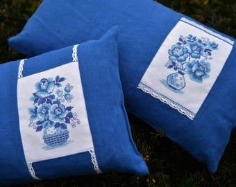 Декоративная подушка. 2шт. / Decorative pillow. 2 pсs. 100% flax. Cross-stitch.