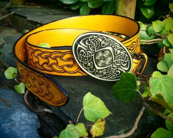 viking leather belt, norse desing, yellow celtic belt