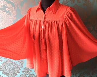 Vintage 80's Red 'Chelsea Girl' Heart Patterned Batwing Sleeved Blouse Size 10