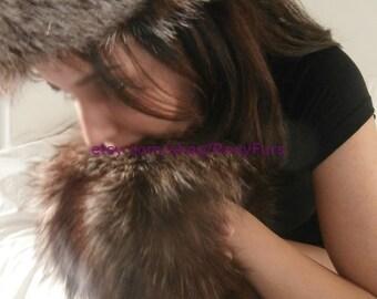 Fox fur headband and hand wrist muff set