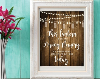 Memory Of Sign | Wedding Memory of Sign | Wedding Decorations | Rustic Wedding | Missing You Sign | In Memory of Sign | String Lights | Wood